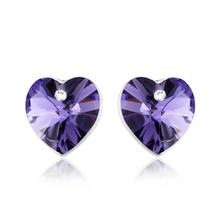 Hermosos Aretes Púrpuras de Cristal Swarovski En forma de Corazón
