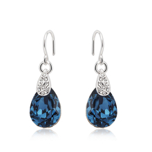 Elegant Blue Swarovski Earrings with Rhodium
