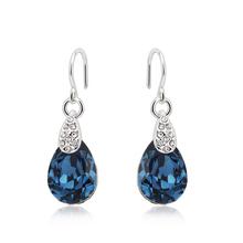 Elegant Blue Swarovski Earrings with Rhodium