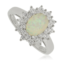 White Opal Ring with Simulated Diamonds in Sterling Silver