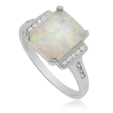 Sterling Silver Ring with big white Opal Gemstone
