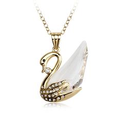 18K Yellow Gold Plated Beautiful Swan Swarovski White Crystal Necklace