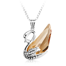 Amber Color Swan Swarovski Crystal Necklace
