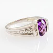 14k Solid White Gold Amethyst Diamond Ring