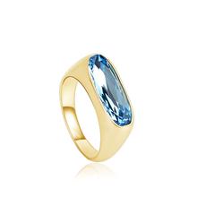 Blue Color Swarovski Cristal Ring with 18K Gold Plating