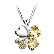 18K White Gold Plated Green Clover Swarovski Crystal Necklace
