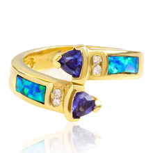 Australian Blue Opal Tanzanite Ring in 14k Solid Yellow Gold