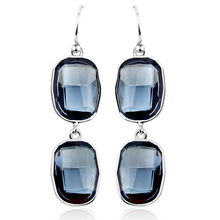 Emerald-Cut Blue Swarovski Drop Earrings