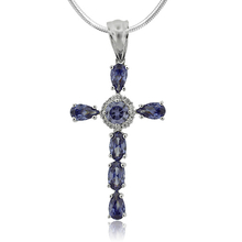 Gorgeous Silver Cross With Tanzanite Gemstones and Zirconia