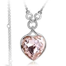 Collar Corazón Swarovski Color Rosa con Baño de Oro Blanco