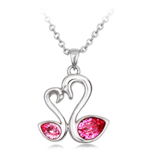 Beautiful Swarovski Pink Swan & Heart Shaped Necklace