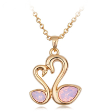 Beautiful Swarovski Gold Swan & Heart Shaped Necklace