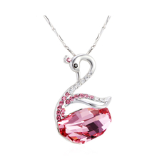 Beautiful Swarovski Pink Swan Shaped Necklace