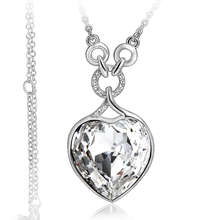 Gorgeous 18K White Gold Plated White Heart Swarovski Necklace