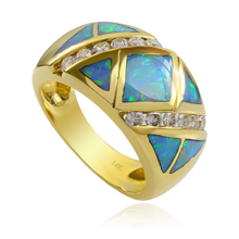 Extremely Gorgeous Authentic Australian Opal and Diamonds Ring in 14k Gold