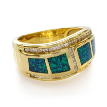 Gorgeous Australian Opal and Diamonds Ring in 14K Yellow Solid Gold
