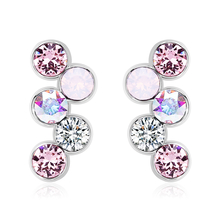 Swarovski Earrings in the shape of circles pink tones