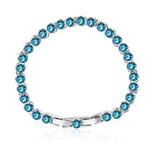 Blue Topaz Color Swarovski Crystals Bracelet
