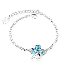 Blue Swarovski Crystal Clover Bracelet