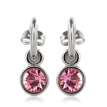 Bonitos Aretes Redondos de Cristal Swarovski Rosa