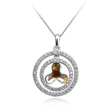 Sterling Silver Swarovski Amber color Crystal Pendant