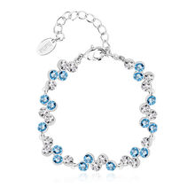 High Quality White and Blue Swarovski Crystal Bracelet