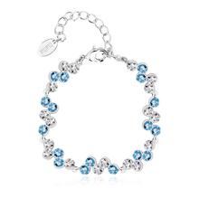 Alta Calidad de Pulsera de Swarovski con Cristales Azules y Blancas