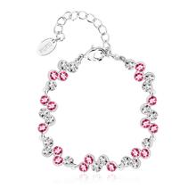 Alta Calidad de Pulsera de Swarovski con Cristales Rosas y Blancas