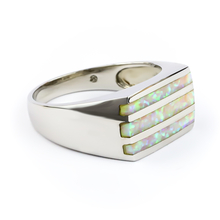 White Australian Opal Men's .925 Silver Ring