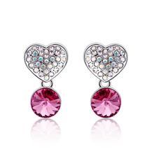 Lindos Aretes de Corazon Con Cristal Swarovski Color Rosa