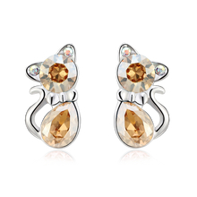 Pretty Swarovski Color Champagne Crystal Kitty Earrings