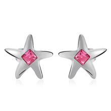 Aretes de Cristal Swarovski Color Rosa en Forma de Estrella
