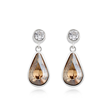 Amber Color Swarovski Drop Earrings