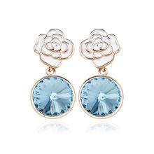 Aretes con Baño de Oro Rosa 18K color Azul