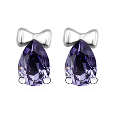 Blue Swarovski Crystals Stud Bow Earrings