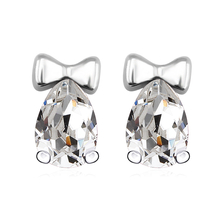 Swarovski White Crystals Stud Bow Earrings