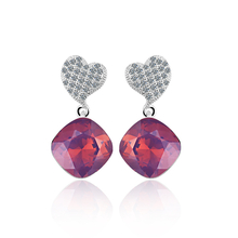 Swarovski Crystals Amethyst Opal Color Sterling Silver Heart Earrings