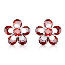 Aretes de Plata en Forma de Flor de Cristal Swarovski Color Rojo