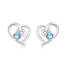 Aretes de Swarovski Color Azul con Rodio en Forma de Corazón