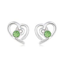 Aretes de Swarovski Color Verde con Rodio en Forma de Corazón