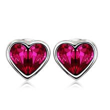 Aretes de Swarovski en Forma de Corazón Color Rojo