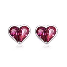 Aretes de Plata Con Swarovski en Forma de Corazón Color Rosa
