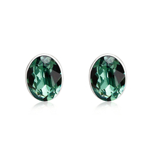 Emerald Green Swarovski Crystal Silver Stud Earrings