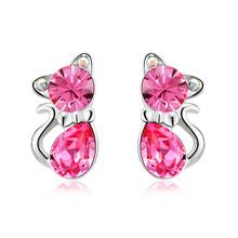 Swarovski Color Pink Crystal Kitty Earrings