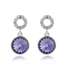 Purple Round Swarovski Earrings