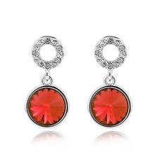 Aretes Redondos Cristal Swarovski En Color Rojo