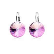 Pink Swarovski Circular Earrings