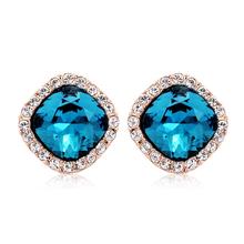 Lindos Aretes de Cristal Swarovski Color Azul Con Baño de Oro Rosa