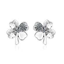 Beautiful White Earrings in Shape of Clover