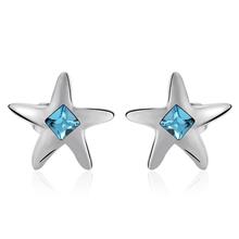 Aretes de Cristal Swarovski Color Azul en Forma de Estrella